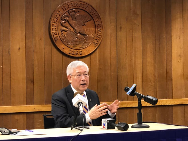 Incoming Western Illinois University President Guiyou Huang speaks during his first press interview with media Thursday.