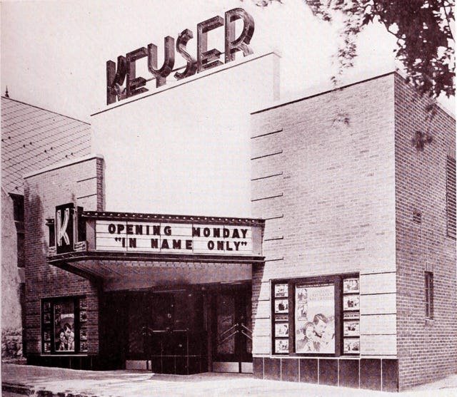 """The Keyser Theatre is pictured when it opened, with """"In Name Only"""" on the marquee."""