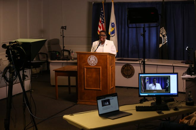 A skeleton crew was on hand to help Mayor Yvonne Spicer deliver the State of the City address virtually from the Ablondi Room at City Hall in Framingham, Jan. 14, 2021. See more photos of the event at metrowestdailynews.com.