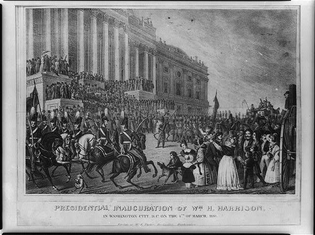 Print shows a large crowd gathered in front of U.S. Capitol, with soldiers on horseback and a marching band, during the inauguration of William Henry Harrison on the 4th of March 1841. Harrison delivered the longest Inaugural address in history at 8,445 words. He died one month later.