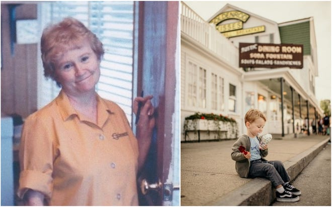PatPeck, a long-time co-owner of The Goldenrod in York Beach, Maine, passed away in November 2020, leaving a legacy that lives on as her son steers the business through the pandemic. Pat's great grandson, Paul, is pictured enjoying an ice cream cone on the curb outside the business.