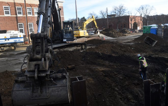 Construction crews, on site Jan. 15, are making steady progress on the new workforce housing project, named Ruth Lewin Griffin Place, for the longtime city housing advocate and political leader who recently stepped down as chair of the Portsmouth Housing Authority.