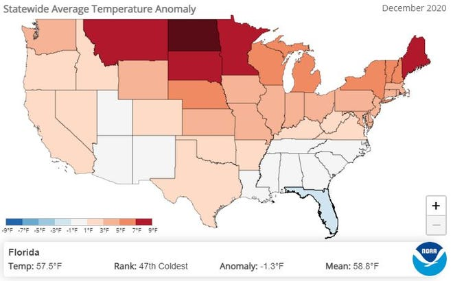 Florida was 1.3 degrees cooler than  normal in December 2020.