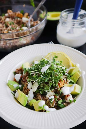 "Garnished with avocado and broccoli microgreens, this ""ancient"" grain bowl is a snap to compose and makes a nutritious and satisfying) breakfast, lunch, or dinner."