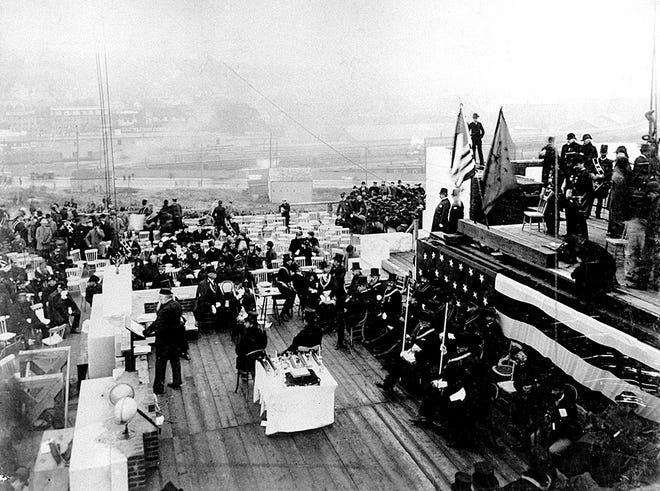 The cornerstone ceremony during construction of the Rhode Island State House in October 1896.