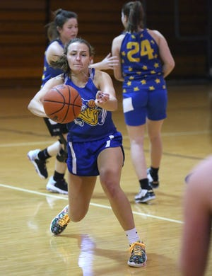 Bella Kline of East Canton goes through workouts with the team Thursday, Jan. 14, 2021.15