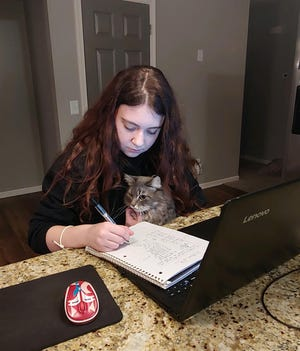 Washington High School junior Taylor Grant studies at home with the support of her cat, Hazel.