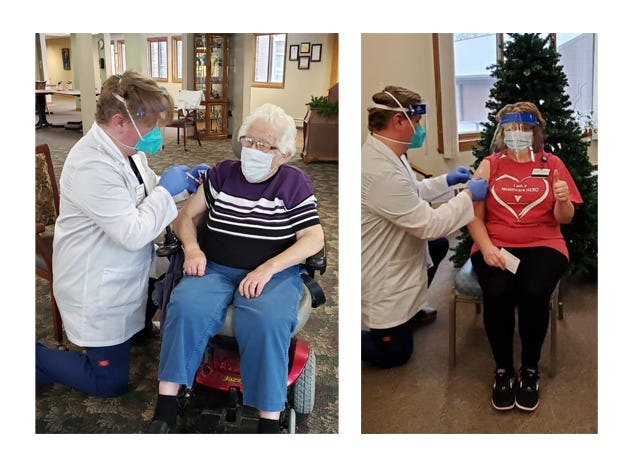 Left: Countryside Retirement Community tenant Arlene Schroepfer; Right: Director of Nursing Kim Hose — receive first does of the Moderna vaccine.