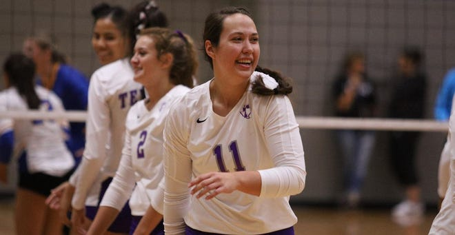 Lauren Kersey, a 5-11 junior from Norman, Okla., reacts during a match last season. Tarleton volleyball was selected to finish in a three-way tie for sixth place in the Western Athletic Conference preseason coaches' poll.