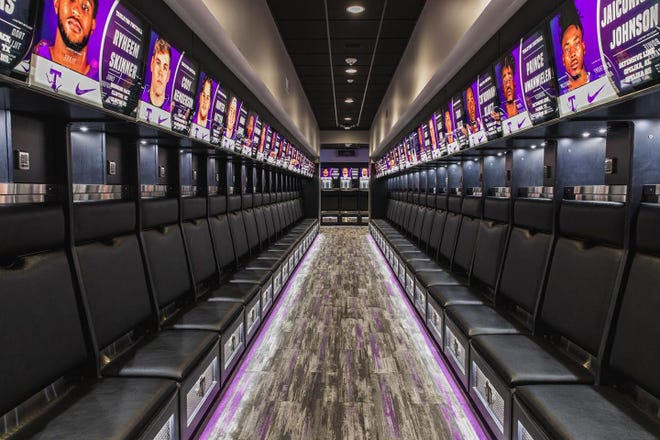 Tarleton athletics recently unveiled the multi-million dollar renovation to Tarleton State University Football Field House. The project began with a complete renovation of the existing facility on the south end of Memorial Stadium. The new facility expanded out to 16,000 total square feet of space, highlighted by a unified locker room with 100 brand-new lockers.