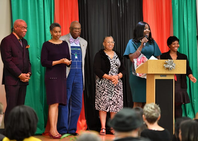 Dr. LaShawn Frost, second from right, principal at Booker Middle School, received the Education Award at the 39th annual Martin Luther King Jr. Memorial Breakfast at the Robert L. Taylor Community Complex in Sarasota last year. Organizers are still planning to honor community heroes but will scale down the celebration because of the coronavirus pandemic.