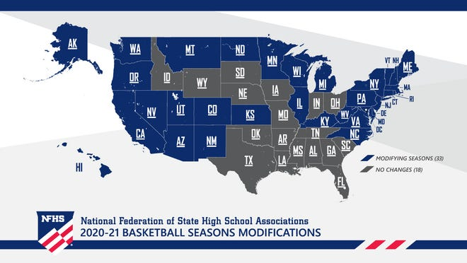 Graphic shows the status of basketball among the state associations affiliated with the National Federation of State High School Associations.