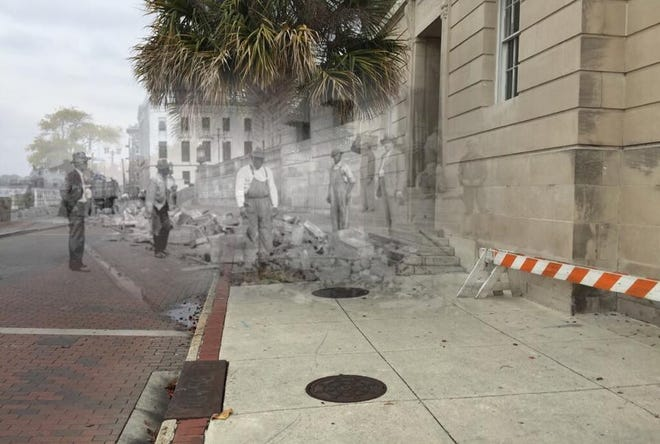 A Past and Present Images creation shows a current look at Water Street blended with a Louis T. Moore photo taken during Prohibition of alcohol being destroyed and allowed to flow into the Cape Fear River.