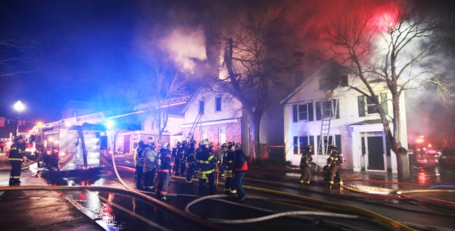 The Middleborough Fire Dept. responded to its third fire inside of 36 hours Thursday night, which involved two adjacent buildings at 7 and 9 Wareham Street.
