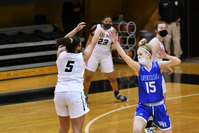 Lilly Smith (5) came up big for Topeka High's girls in a 53-49 win over Washburn Rural in early January, scoring a career-high 21 points, while also making two big defensive plays late. High and Rural meet again Friday with the Centennial League title hanging in the balance.