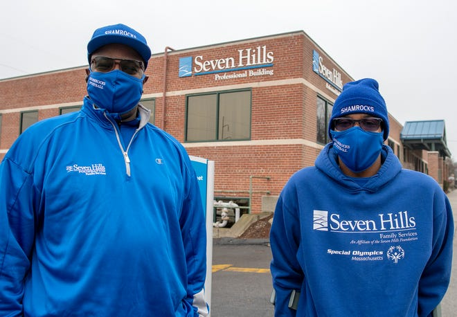 Seven Hills Foundation Shamrocks coach Tyrone Hicks and Tyrone Hicks Jr. outside the Seven Hills Foundation.