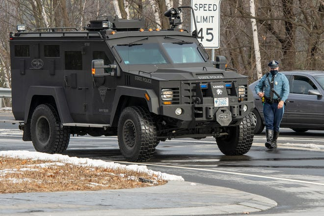WESTMINSTER - A vehicle from the Mass. State Police swat team arrives at the Rodeway Inn in Westminster Friday, January 15, 2021.