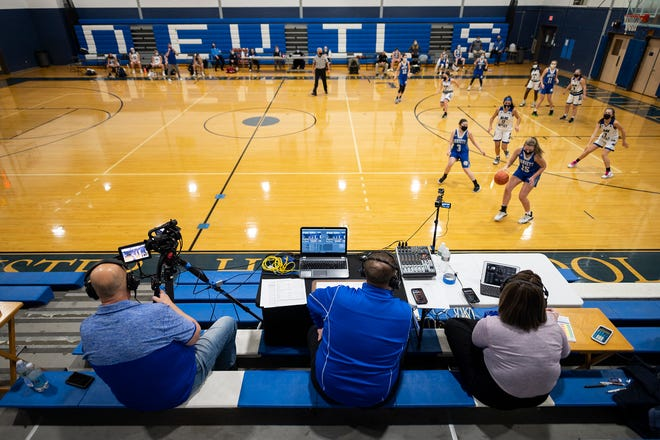 Members of Rivalry Family Media broadcast the game between Narragansett and Leominster to Facebook since fans can't attend due to COVID-19 Thursday in Leominster.