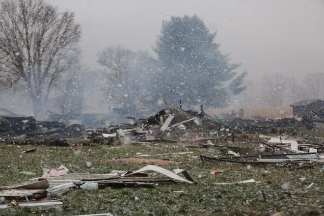 Smoke was still rising on the morning of Jan. 15 from the site of an explosion and fire at a house on Fillman Bottom Road on the previous evening.