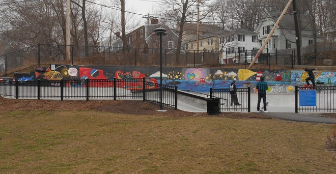 Plymouth's recently completed Public Art Initiative included a whimsical mural at the town's new skate park.