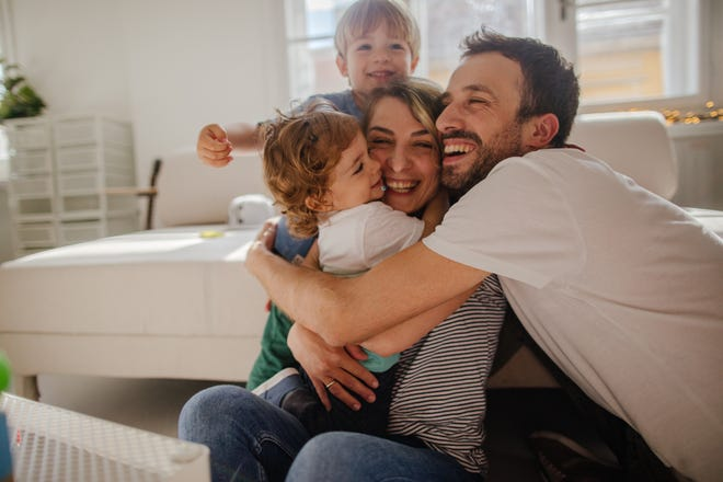A happy family at home
