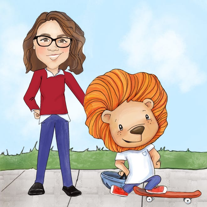 Illustrated picture of Vicki Hamilton-Allen and Lou the Lion. Illustrated by Marissa Tawney Thaler.