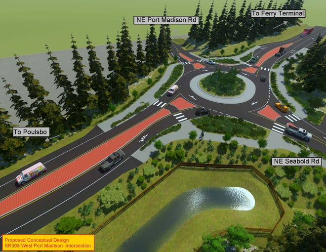 A view of the Port Madison Road roundabout that WSDOT is planning on Highway 305.
