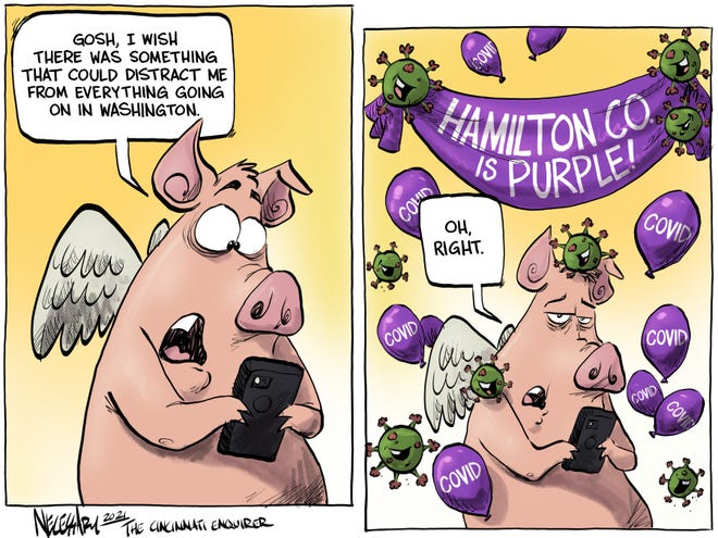 """Hamilton County getting elevated to """"purple"""" on the governor's statwide coronavirus heat map, not the kind of distraction many are looking for from our troubled state of national politics."""