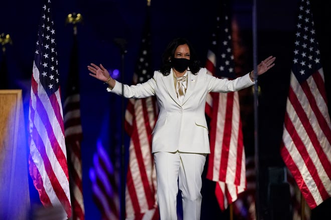 Vice President-elect Kamala Harris arrives to speak on Nov. 7, 2020, in Wilmington, Del.