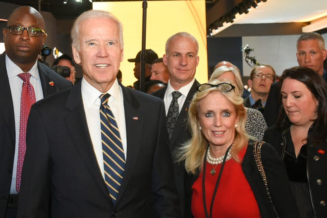 Vice-President Biden touring NAIAS 2017 shown with Congresswoman Debbie Dingell.