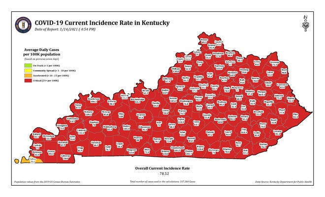 The COVID-19 current incidence rate map for Kentucky as of Thursday, Jan. 14.