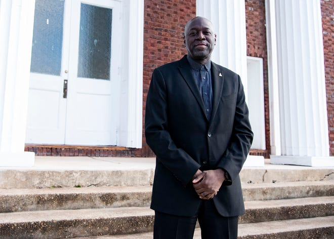 New interim president of Knoxville College Leonard Adams poses in front of the McMillan Chapel at Knoxville College in Knoxville, Tenn., on Friday, Jan. 15, 2021.