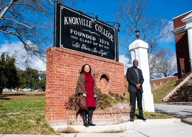 (Left to right) Chief Operating Officer Dasha Lundy and new interim president Leonard Adams of Knoxville College pose in front of the entrance sign at Knoxville College in Knoxville, Tenn., on Friday, Jan. 15, 2021.