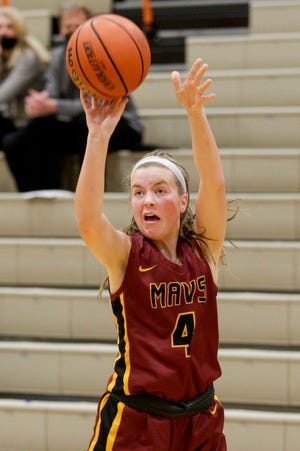 McCutcheon's Caitlyn Miller (4) goes up for a 3-pointer during the second quarter of an IHSAA girls basketball game, Thursday, Jan. 14, 2021 in West Lafayette.