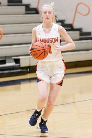 Harrison's Riley Flinn (4) dribbles during the first quarter of an IHSAA girls basketball game, Thursday, Jan. 14, 2021 in West Lafayette.