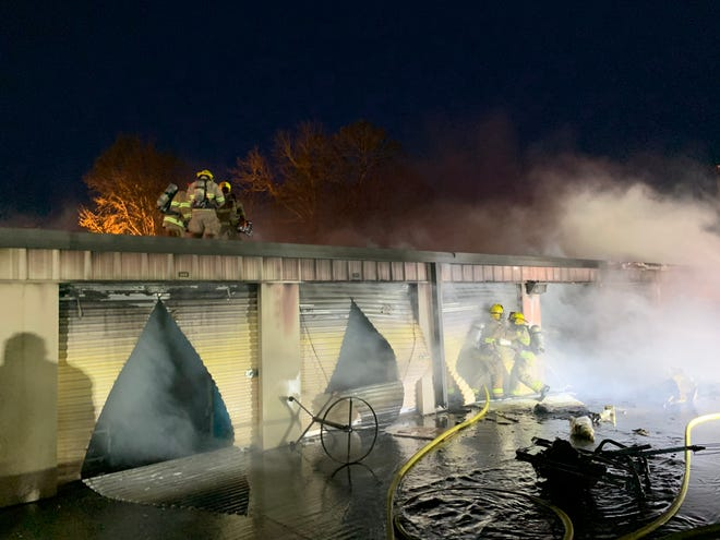 The Lafayette Fire Department battled a blaze at the Life Storage rental facility on Evangeline Thruway on Jan. 14, 2021.