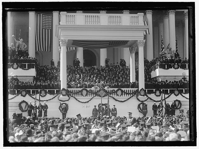 President Warren Harding, middle, address the crowd during his inauguration speech in 1921.