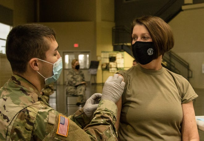 Maj. Gen. Sheryl Gordon, adjutant general of the Alabama National Guard, receives a COVID-19 vaccination on Jan. 7.