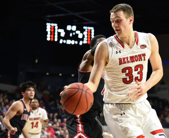 Nick Muszynski maneuvers against Austin Peay's defense in a key OVC basketball game at Curb Event Center on Feb. 8, 2020.