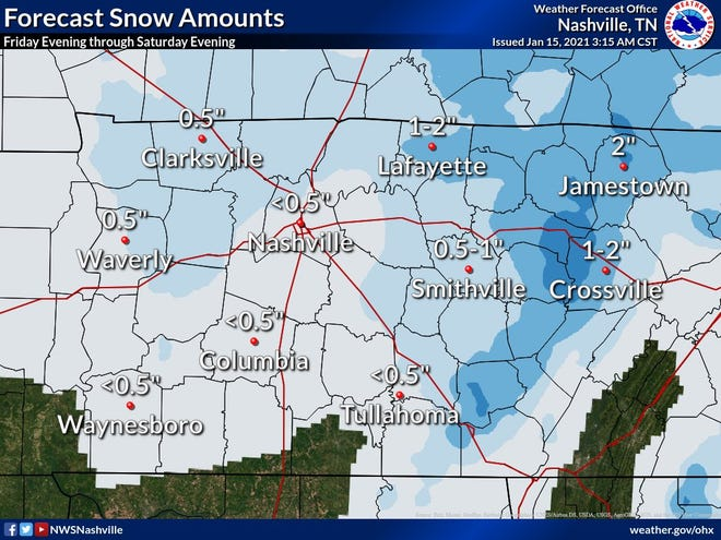 More snow may be on the way for Nashville and Middle Tennessee overnight Friday and into Saturday morning, the National Weather Service said.