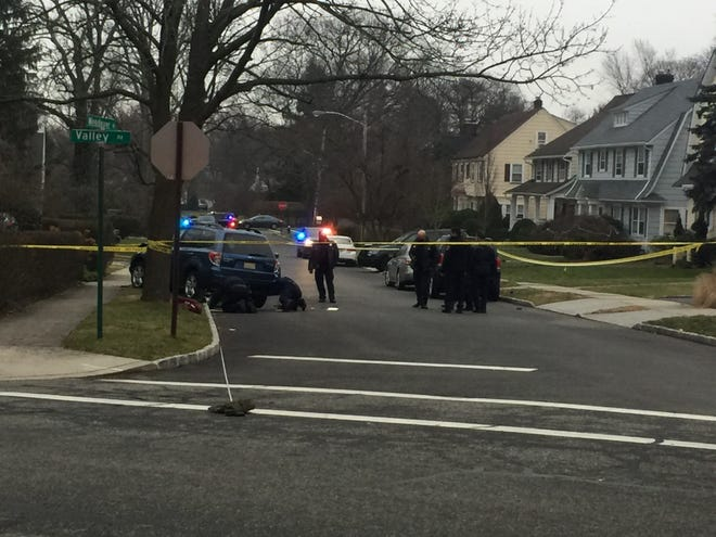 Montclair police investigating the scene of a pedestrian strike on Wendover Road, just off Valley Road, in Montclair on Friday, Jan. 15, 2021.