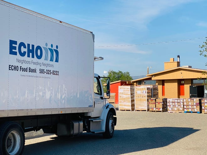 An ECHO Food Bank truck is parked outside the Sheep Springs Chapter House on the Navajo Nation, where the agency distributed nearly 17,000 pounds of food.