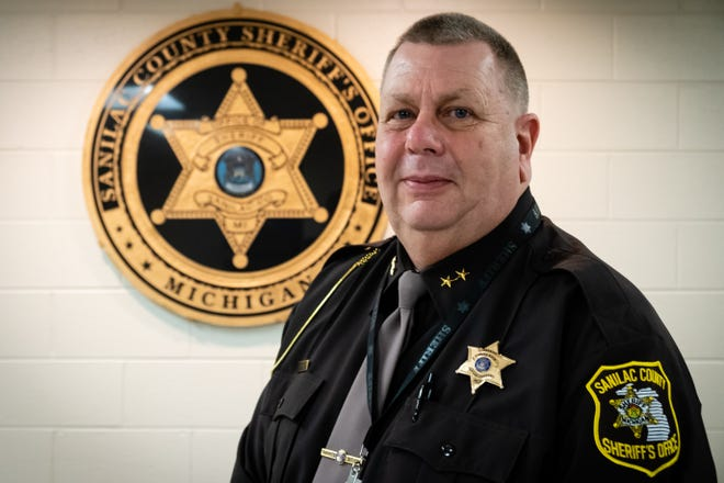 Sanilac County Sheriff Paul Rich stands for a portrait Friday, Jan. 15, 2021, in his office in Sandusky. Rich, who retired from the department in 2017 and served as the Peck Police Chief, was elected as the county sheriff.