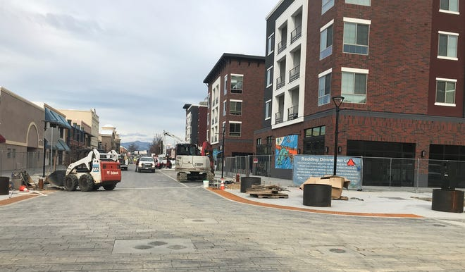 Looking north down Market Street. The streets around Market Center are targeted to reopen Feb. 5, 2021.