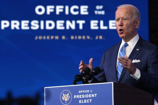 President-elect Joe Biden lays out his coronavirus plan on Jan. 14, 2021, in Wilmington, Delaware.