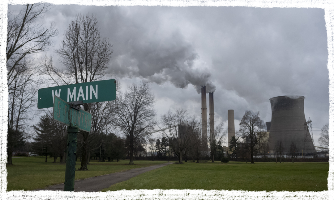 A coal power plant seen near Main and Fourth streets on Dec. 21, 2020 in Cheshire, Ohio. In the early 2000s, this area was dotted with homes, but AEP bought out the town and several residents moved away after many environmental problems related to the power plant.