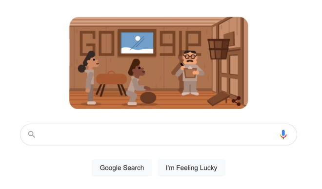 A screenshot of Google's tribute to Dr. James Naismith, the inventor of basketball.