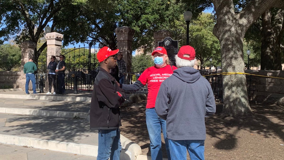 Small group of pro-Trump supporters gathered outside Texas Capitol