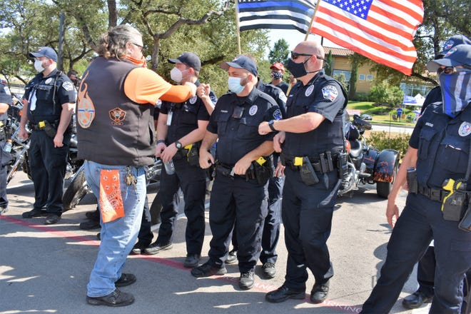 Police Chief Todd Radford says that in 2020, Lakeway officers were present at two scheduled rallies opposing police actions across the country, along with this one with members of the Wind Therapy Freedom Riders, who organized a rally to support the city's police force.