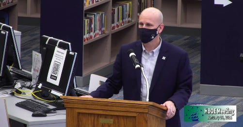Hudson City School District Superintendent Phil Herman delivers a presentation to the board of education in January. The district recently released a plan showing how it would help students who may have struggled in various areas during the COVID-19 pandemic.